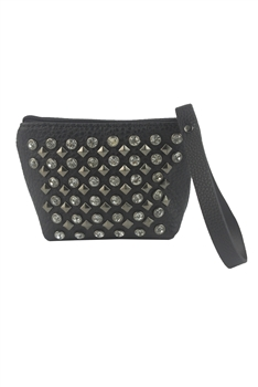 Fashionable Style Zipper Crystal Metal Rivets Handbags HB0575