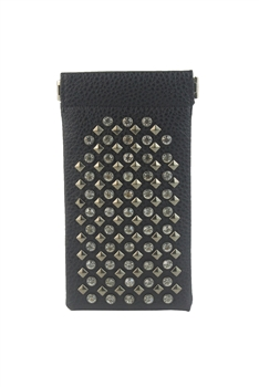 Crystal Metal Rivets Leatherette Glasses Bag HB0576
