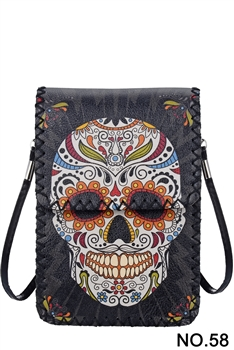 Skull Candy Head Ethnic Printed Mobile Phone  Handbags HB0580 - NO.58