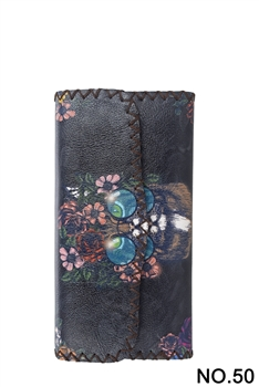 Cat Ethnic Pattern Leatherette Wallet HB0582 - NO.50 BK