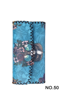 Cat Ethnic Pattern Leatherette Wallet HB0582 - NO.50 BL