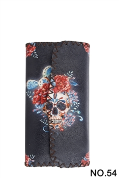 Skull Ethnic Pattern Leatherette Wallet HB0582 - NO.54