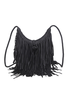 Middle Size Tassel Leatherette Crossbody HB0625-M - Black