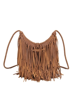 Middle Size Tassel Leatherette Crossbody HB0625-M - Brown