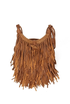 Extra Large Size Tassel Leatherette Crossbody HB0625-XL - Brown