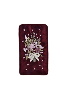 Flower Embroidery Cotton Eyeglasses Phone Bags HB0626 - Red