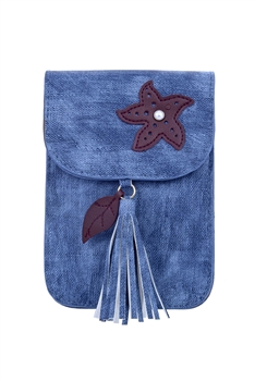 Fashion Women Leatherette Tassel Cellphone Pouch HB0639 - Blue