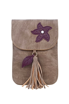 Fashion Women Leatherette Tassel Cellphone Pouch HB0639 - Brown