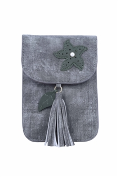 Fashion Women Leatherette Tassel Cellphone Pouch HB0639 - Grey