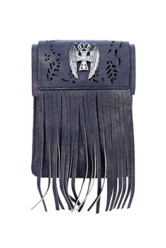 Vintage Cross Leatherette Tassel Cellphone Pouch HB0640 - Black
