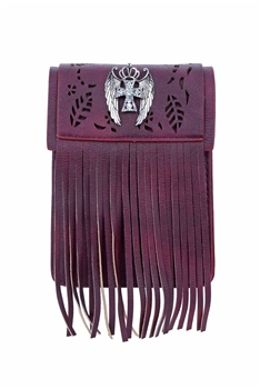 Vintage Cross Leatherette Tassel Cellphone Pouch HB0640 - Red