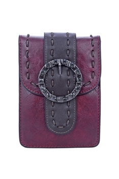 Fashion Women Leatherette Buckle Cellphone Pouch HB0642