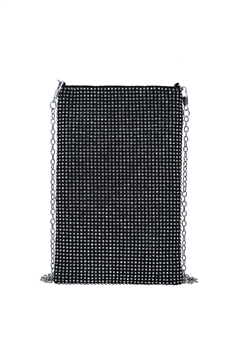 Fashion Rhinestone Metal Chain Cellphone Pouch HB0646 - Black