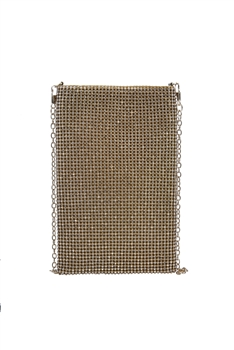 Fashion Rhinestone Metal Chain Cellphone Pouch HB0646 - Gold