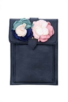 Flower Leatherette Metal Buckle Handbag HB0647 - Black