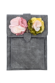 Flower Leatherette Metal Buckle Handbag HB0647 - Grey