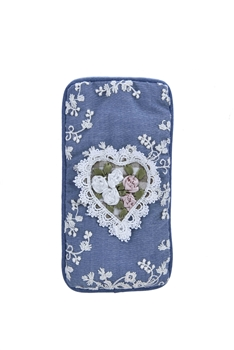 Blue Embroidery Lace Flower Phone Glasses Bags HB0650