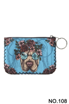 Floral Dog Printed Coin Purse HB0665 - NO.108