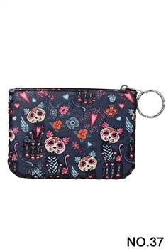 Floral Cat Pattern Printed Wallet HB0665 - NO.37