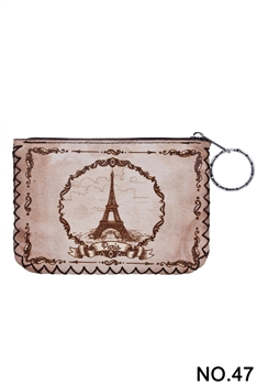 Eiffel Tower Pattern Printed Wallet HB0665 - NO.47