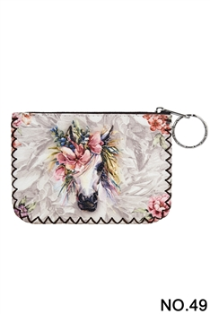 Floral Unicorn Pattern Printed Wallet HB0665 - NO.49