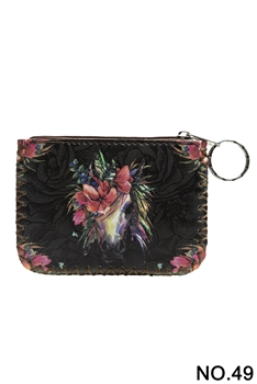 Floral Horse Printed Coin Purse HB0665 - NO.49BK