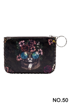Floral Cat Pattern Printed Wallet HB0665 - NO.50 BK