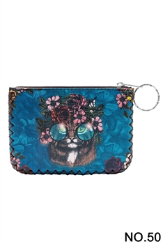Floral Cat Ethnic Pattern Printed Wallet HB0665 - NO.50 BL