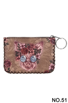 Floral Pig Printed Coin Purse HB0665 - NO.51BR