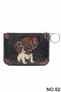 Floral Shar Pei Dog Pattern Printed Wallet HB0665 - NO.52