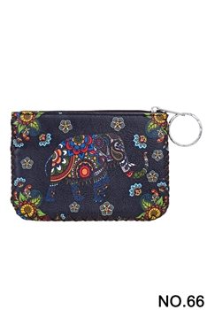 Elephant Floral Pattern Printed Wallet HB0665 - NO.66 BK