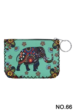Elephant Floral Pattern Printed Wallet HB0665 - NO.66 GR