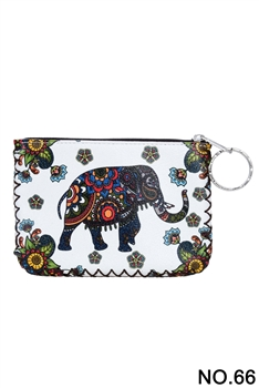 Elephant Floral Pattern Printed Wallet HB0665 - NO.66 WH