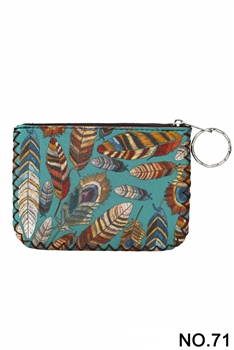 Feather Printed Coin Purse HB0665 - NO.71GR