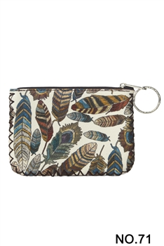 Feather Printed Coin Purse HB0665 - NO.71WH