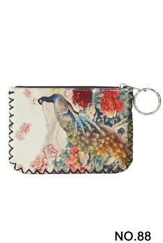 Peacock Printed Coin Purse  HB0665 - NO.88WH