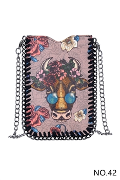 Patterned Metal Chain Cellphone Handbags HB0690 - NO.42