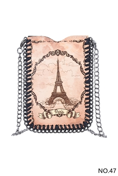 Patterned Metal Chain Cellphone Handbags HB0690 - NO.47