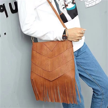 Tassel Leatherette Handbags HB0701 - Brown