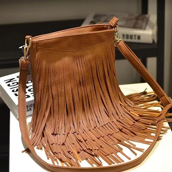 Tassel Leatherette Handbags HB0702 - Brown
