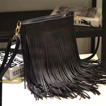 Tassel Leatherette Handbags HB0702 - Black