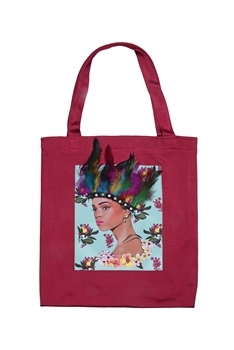 Printed Patch Tote Bags HB0710-NO.1 - Red