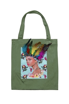 Printed Patch Tote Bags HB0710-NO.1 - Green