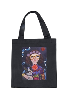 Printed Patch Tote Bags HB0710-NO.2 - Black