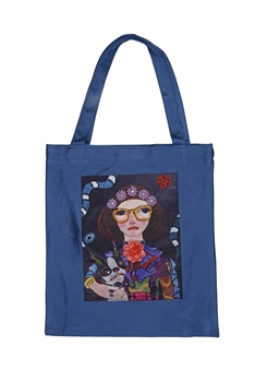 Printed Patch Tote Bags HB0710-NO.2 - Blue