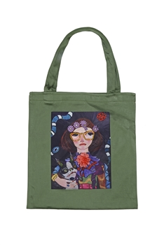 Printed Patch Tote Bags HB0710-NO.2 - Green