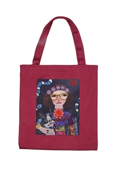 Printed Patch Tote Bags HB0710-NO.2 - Red