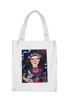 Printed Patch Tote Bags HB0710-NO.2 - White