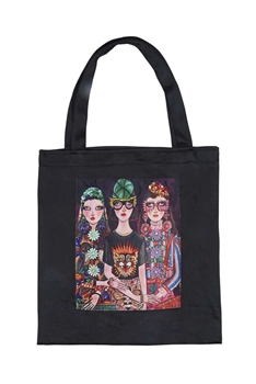 Printed Patch Tote Bags HB0710-NO.3 - Black