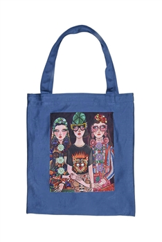 Printed Patch Tote Bags HB0710-NO.3 - Blue